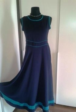 Mėlyna puošni ilga vienetinė Tuana Butik suknelė