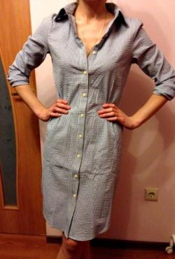melsvi dryžuoti marškiniai-suknelė