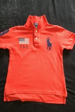 Marškinėliai Polo Ralph Lauren ryškiai raudoni 4 metai